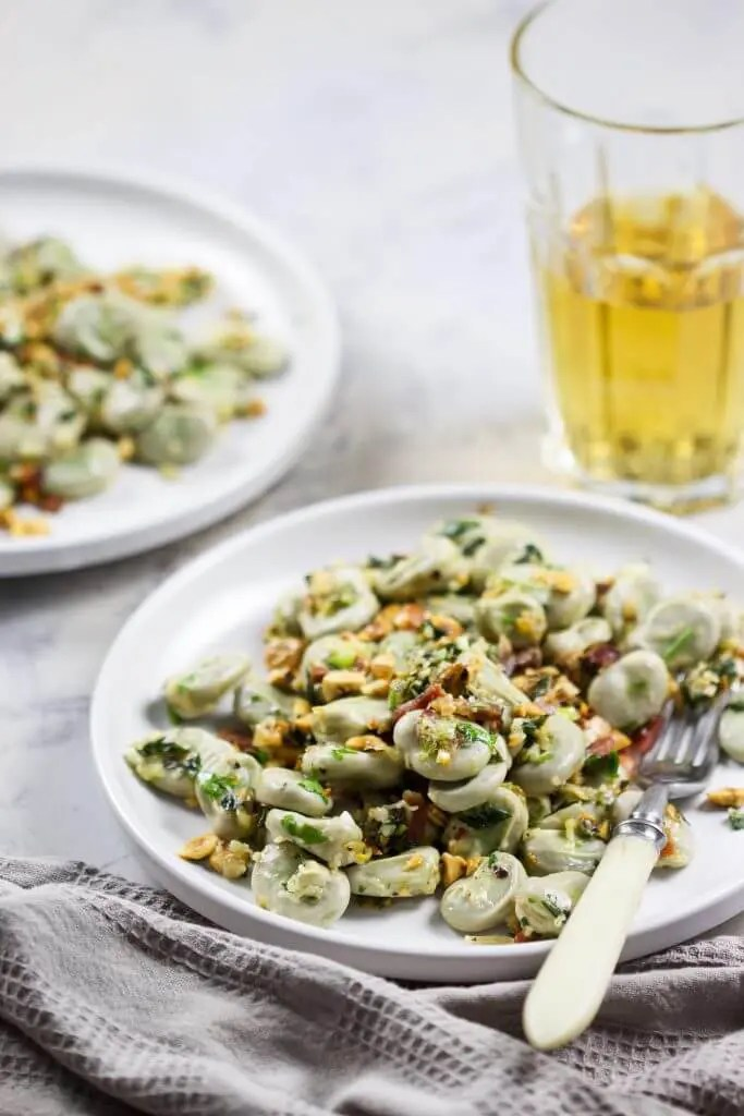 Easy broad beans with spring onion pesto for quick, protein packed summer lunch box which you can make in no time