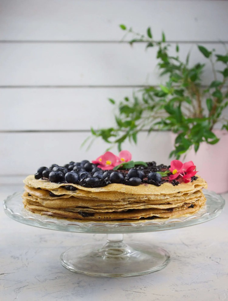 Crepe torte with fresh blueberries.