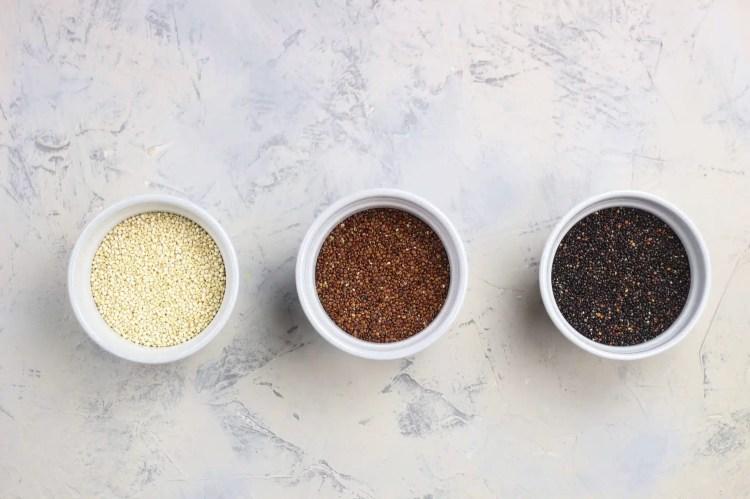White quinoa, red quinoa, black quinoa, types of quinoa