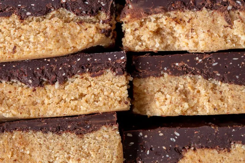 Vegan peanut butter bars. No-bake, easy and delicious.