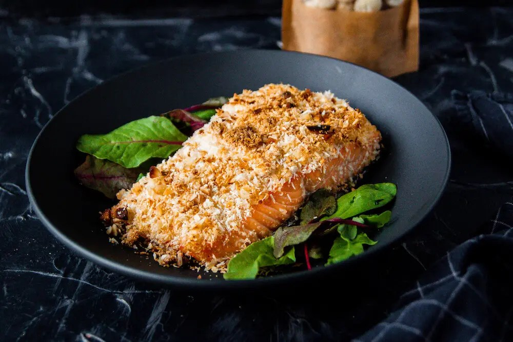 Easy oven baked salmon with macadamia nut and Parmesan crust
