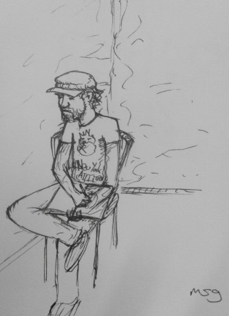 I kind of drew this of myself, imagining I was seeing me from far away sitting on my balcony