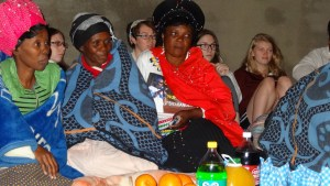 Mrs Molefe and the female elders to the left of the Chief