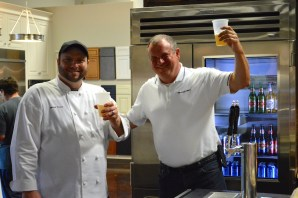 Chef Wards & Brewmaster Charlie taste-testing the brew