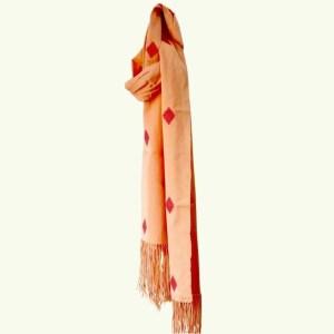 Bhutan Textiles - CDK scarf in coral 1