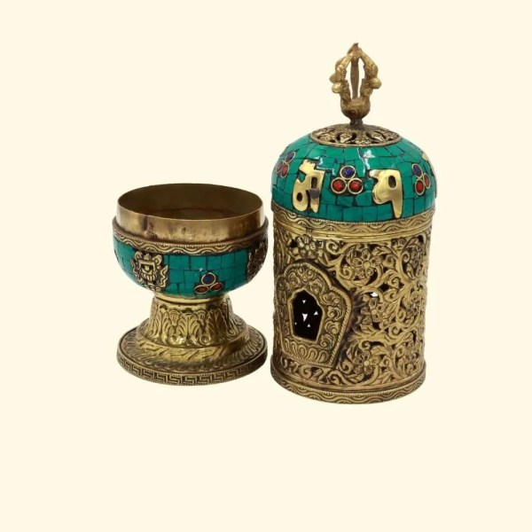 traditional turquoise and brass incense holder - inbu003 3
