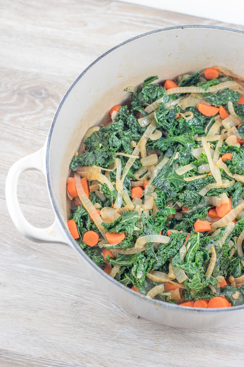 Cooked Kale, Sautéed Kale with Onions and Carrots