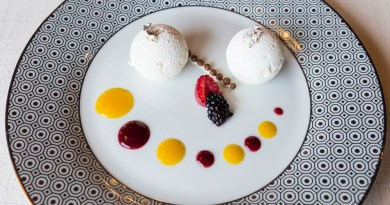 Delicious White Chocolate Spheres - Dessert at L'Ancolie Restaurant, Cruseilles