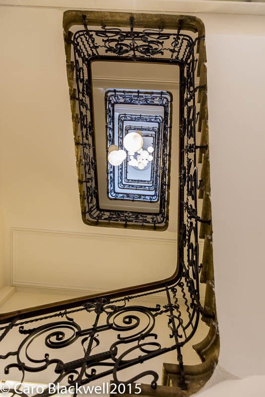 Looking up the grand staircase at Hotel Mont Blanc