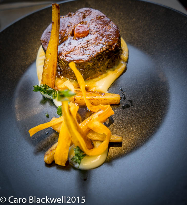 The Main dish from the formule dejeuner - Paleron de boeuf - a delicious slow cooked beef with parsnips served 3 ways