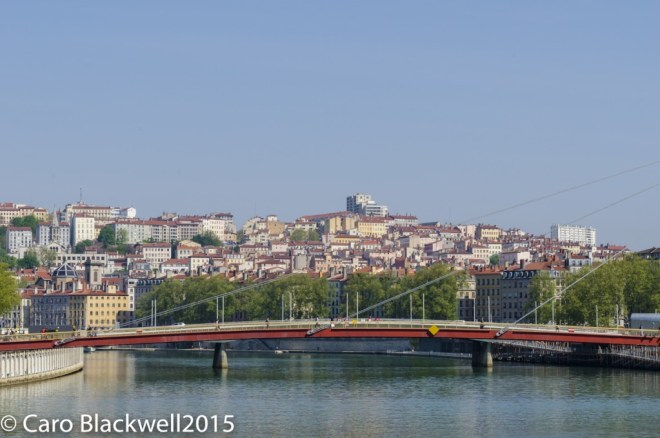 View of the old city from one of the 28 bridges in Lyon