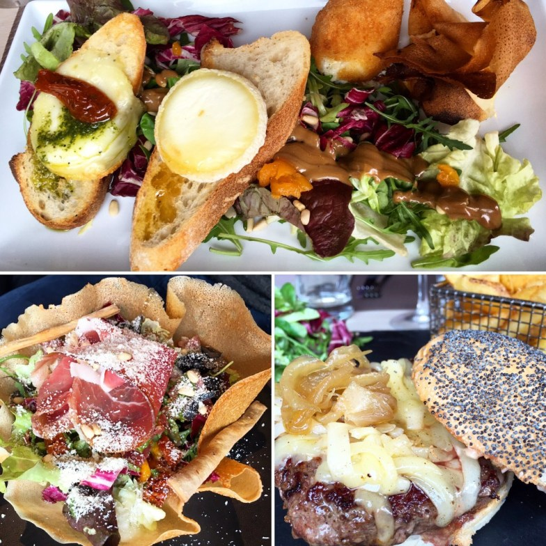 Lunch at Les Copeaux April 2016 Salade Chevre Chaud - goats cheese 4 ways. QG Salad and the gourmet burger