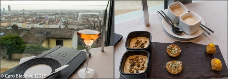 Pink champagne apero and delicious amuse bouche
