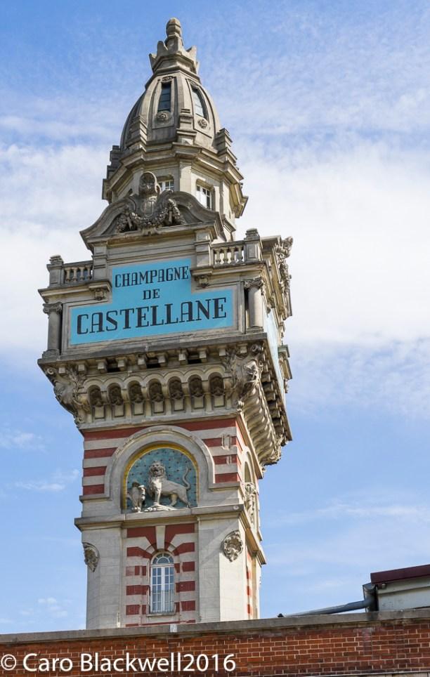 The impressive tower of Champagne de Castellane