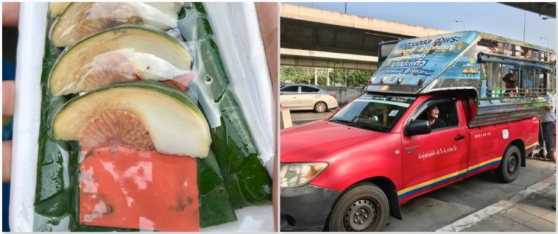 The Betel fruit and nut and a local Songtail truck