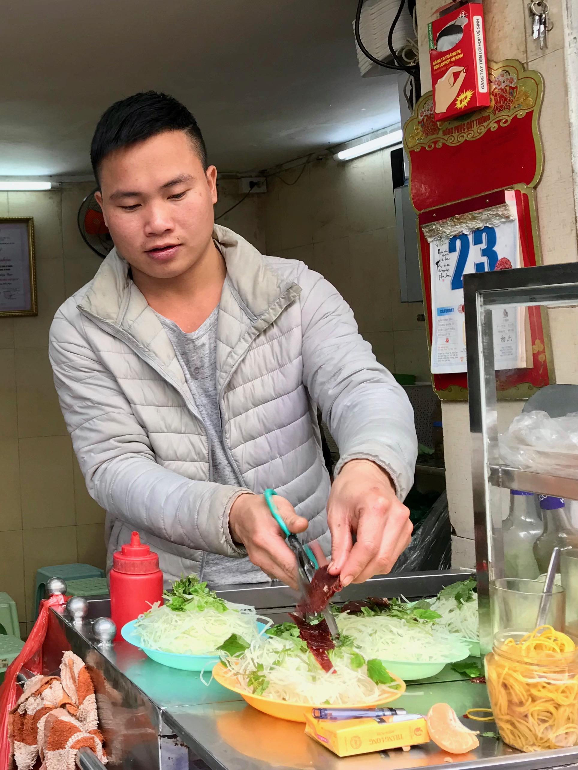 Making the Nom O Kho Salad