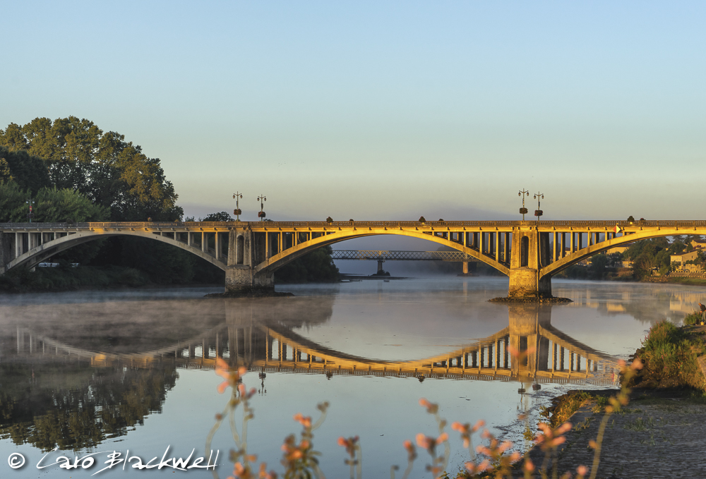 Bridges of Castillon la Bataille over the Dordogne, Gironde, France