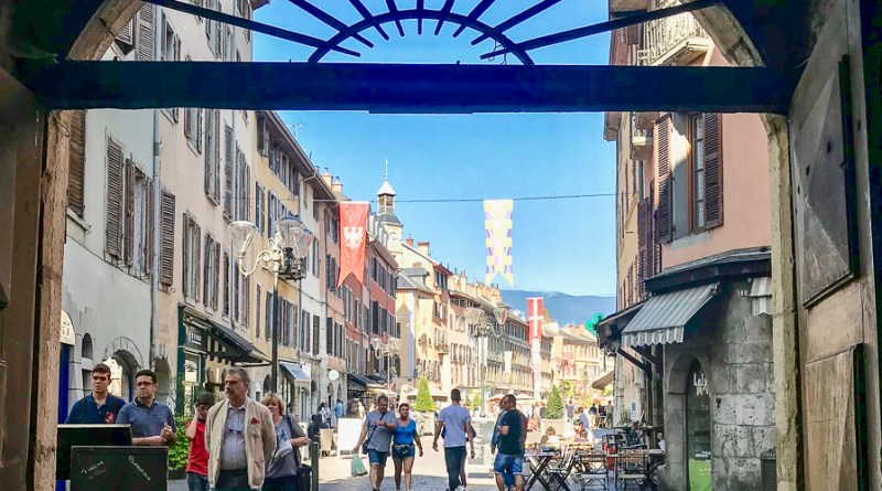 Looking through one of the many Traboules onto the Place Saint Leger in Chambery