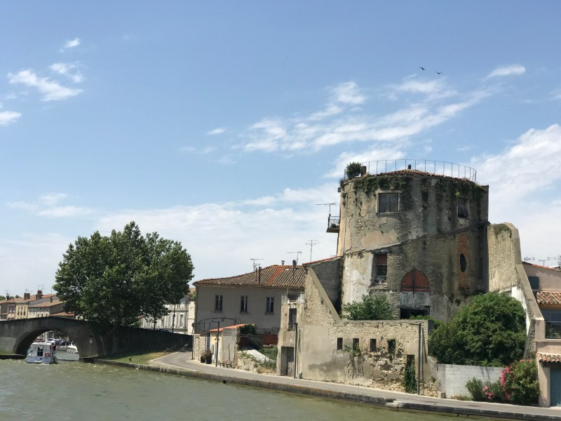 In The Grand Bassin at Castelnaudary about to go under the bridge