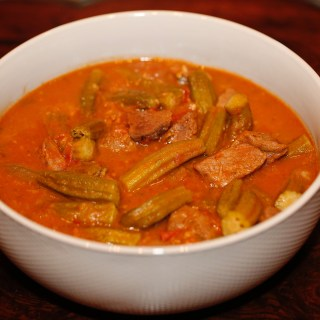 Pictured above is Okra stew cooked with meat, ready to eat. South Sudanese, Middle-eastern cuisine.