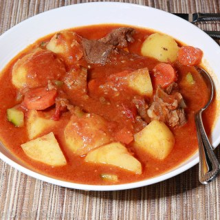 Lamb stew, potatoes and carrots
