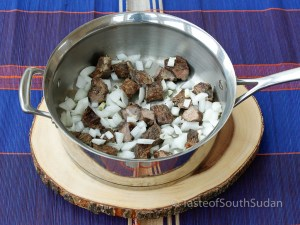 Smoked meat and onions soup base for Basico, Taste of South Sudan Recipe, Sudanese food, South Sudanese food, African food