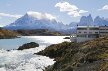 TORRES DEL PAINE, CHILE - APRIL 4, 2015: Hotel Salto Chico Explora Patagonia at turquoise Lake Pehoe in Torres del Paine National Park, Patagonia, Chile