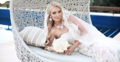 Beautiful Bride Portrait wedding makeup and hairstyle girl in white veil jewelry model fashion bride gorgeous beauty smiling happy bride woman. outdoor photo portrait.