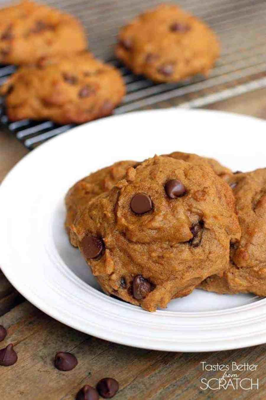 Pumpkin Chocolate Chip Cookies from TastesBetterFromScratch.com