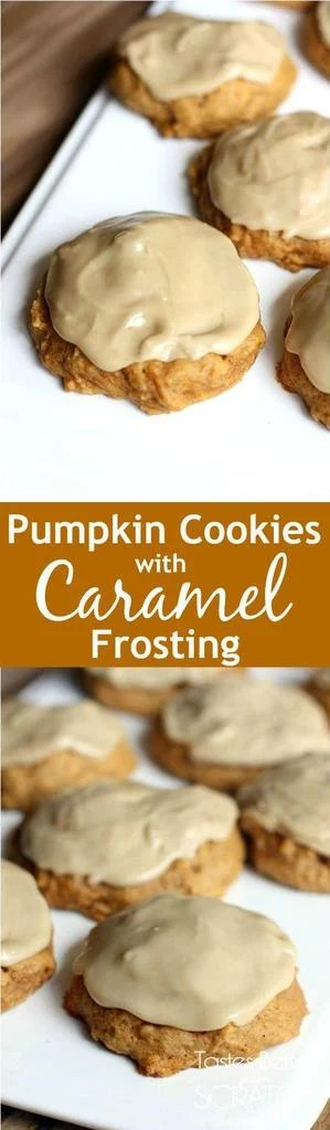 These cookies are the BEST! Melt in your mouth soft pumpkin cookies with caramel frosting. Recipe from