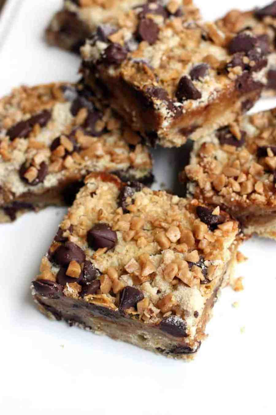 Toffee Chocolate Chip Bars on TastesBetterFromScratch.com