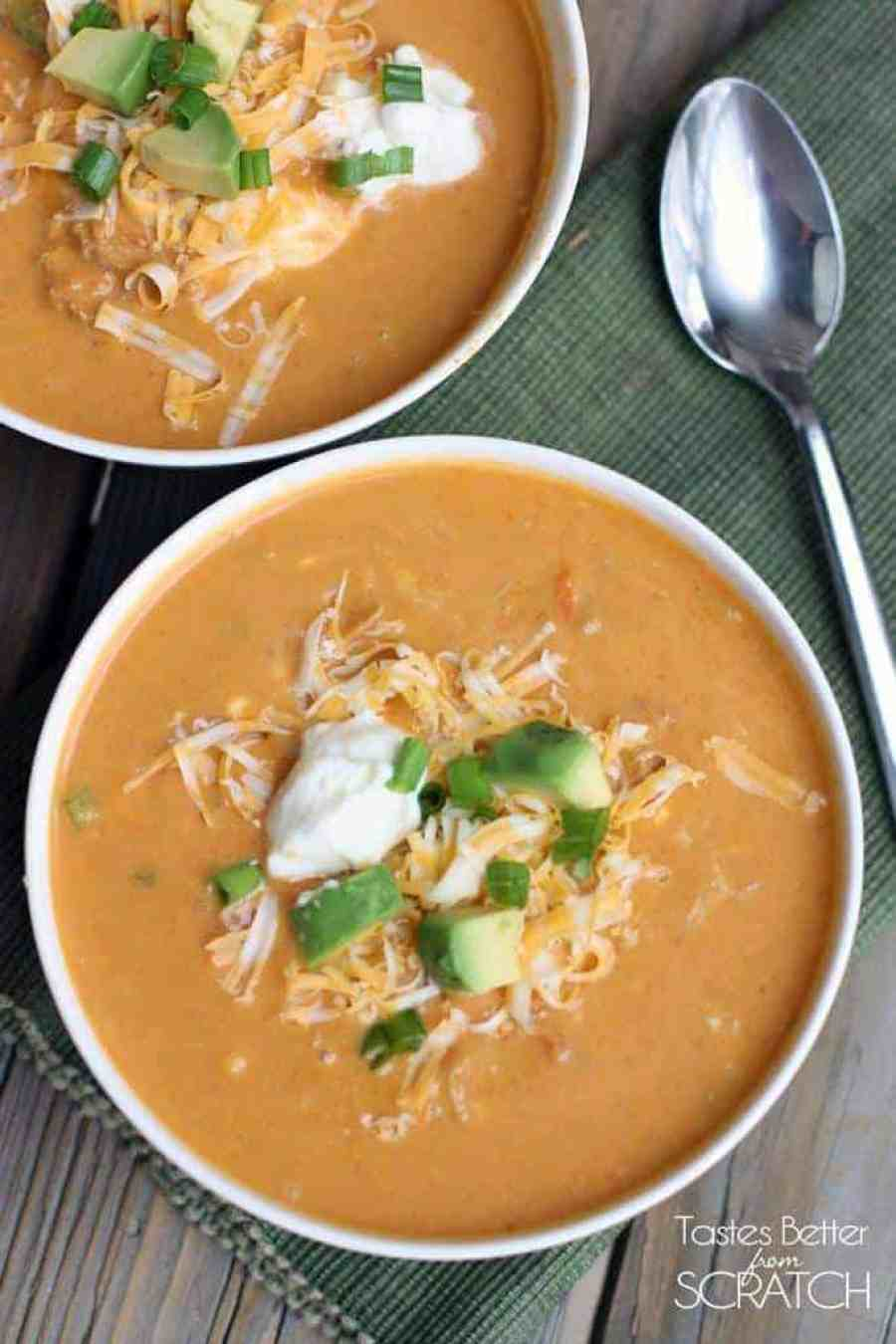 Chicken Enchilada Soup {Slow Cooker} made from scratch, NO canned enchilada sauce! Recipe on TastesBetterFromScratch.com