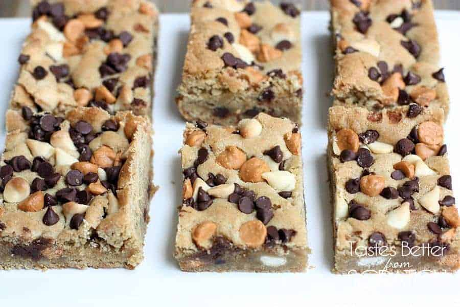 Triple Chip Blondies from TastesBetterFromScratch.com