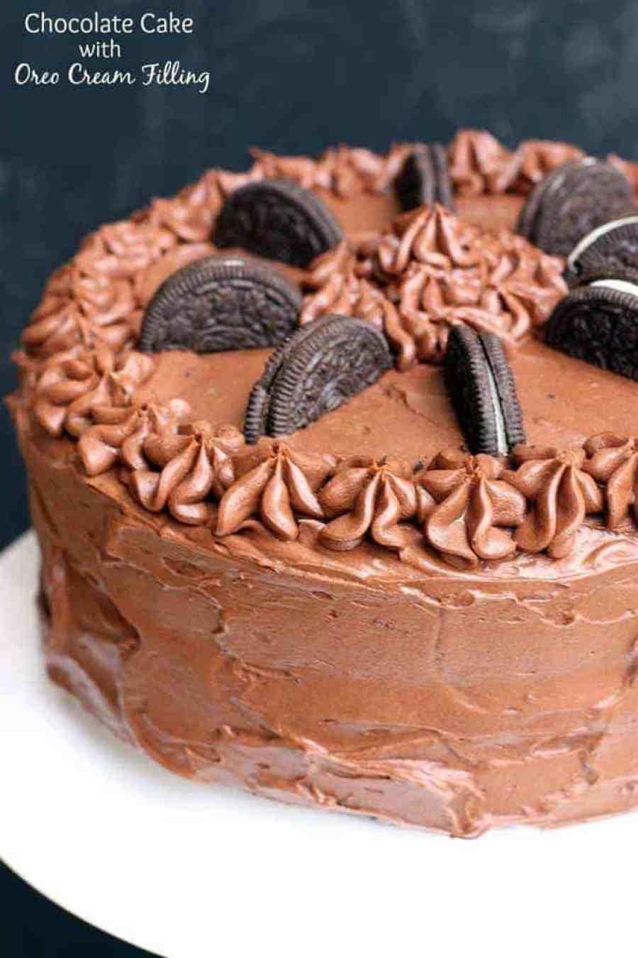 Chocolate Cake with Oreo Cream Filling   - Tastes Better ...
