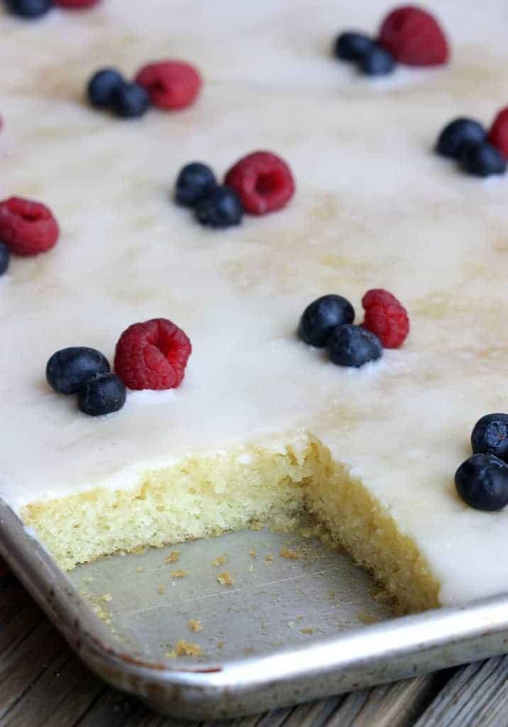 Almond Sheet Cake on TastesBetterFromScratch.com