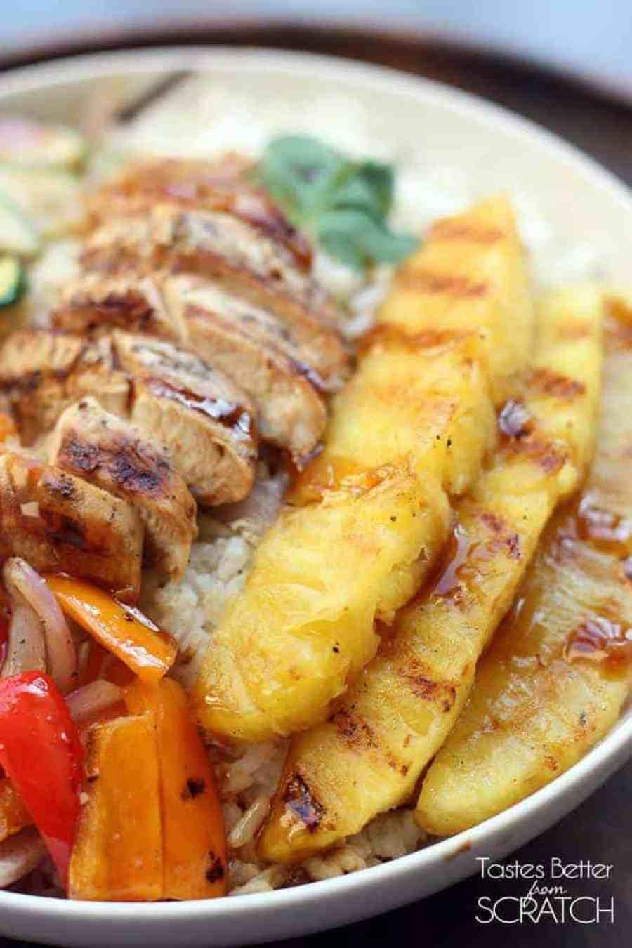 Grilled Hawaiian Teriyaki Chicken Bowls on TastesBetterFromScratch.com