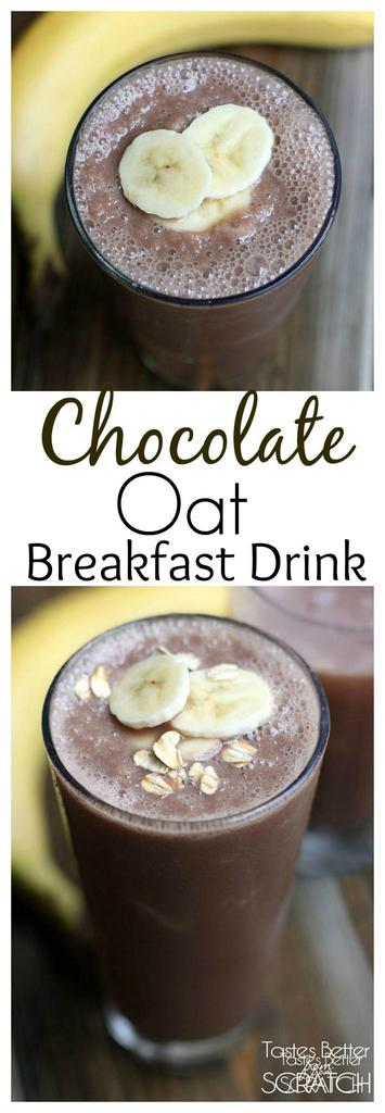 Easy and delicious Chocolate Oat Breakfast Drink from TastesBetterFromScratch.com
