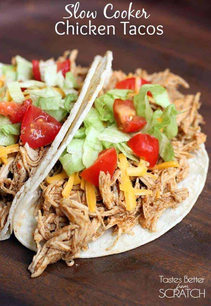 Slow Cooker Chicken Tacos on TastesBetterFromScratch.com