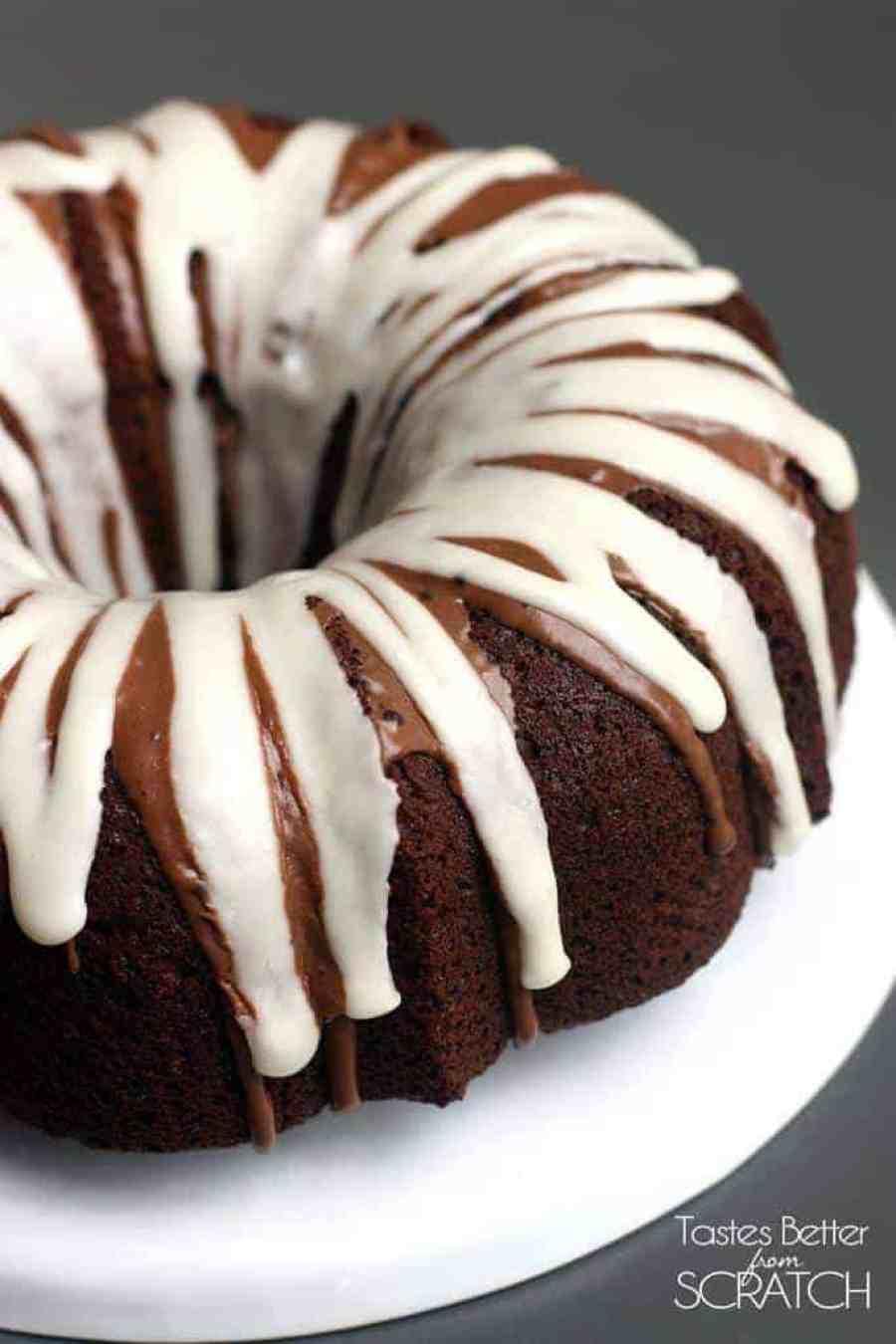 Chocolate Macaroon Bundt Cake on TastesBetterFromScratch.com