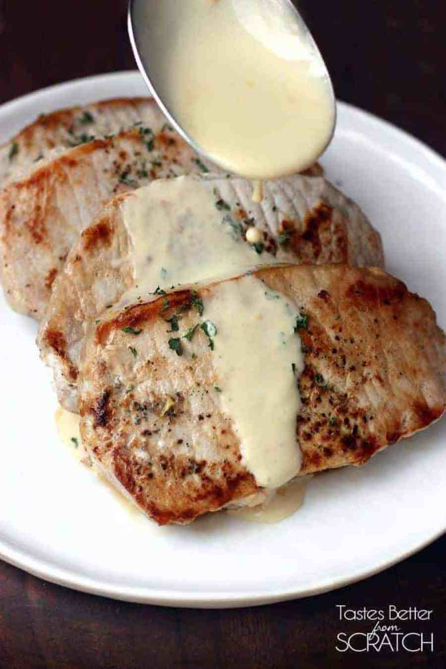 Pork Chops with Creamy Mustard Sauce on TastesBetterFromScratch.com