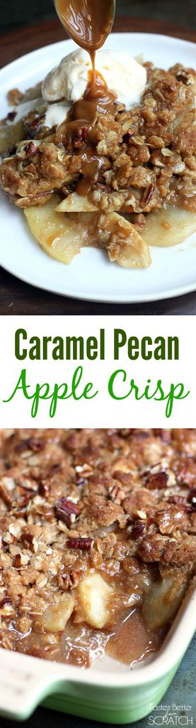 This apple crisp recipe is AMAZING! Tart Granny Smith apples drizzled with caramel and topped with a pecan, oat crumble, baked to perfection! Recipe from Tastes Better From Scratch