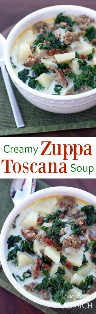 The yummiest, fast and easy soup--Zuppa Toscana soup recipe from Tastes Better from Scratch