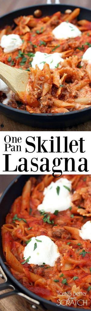 One Pan Skillet Lasagna makes the easiest, yummiest dinner! No layering noodles, and everything cooks together in one pan! Recipe on Tastes Better from Scratch