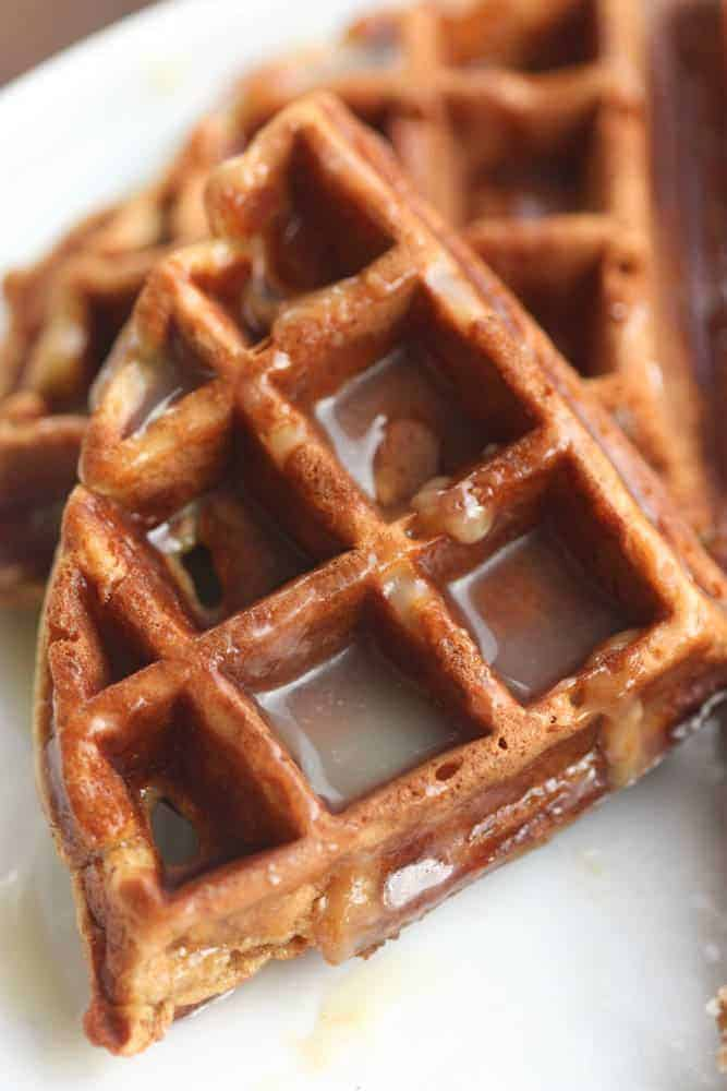 Gingerbread Waffles with Vanilla Cream Syrup | Tastes Better From Scratch
