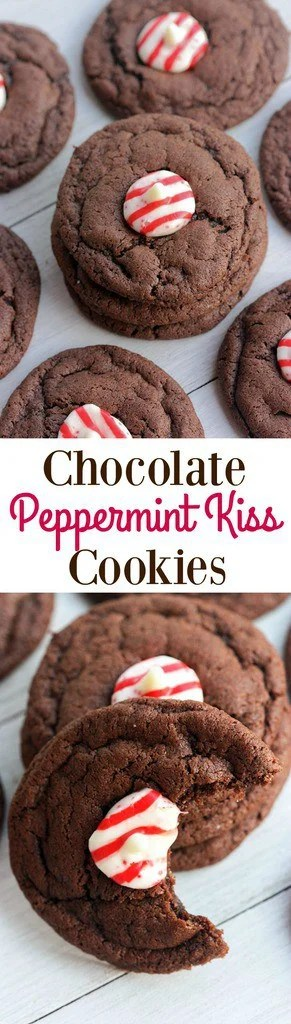 Chocolate Peppermint Kiss Cookies | - Tastes Better From Scratch