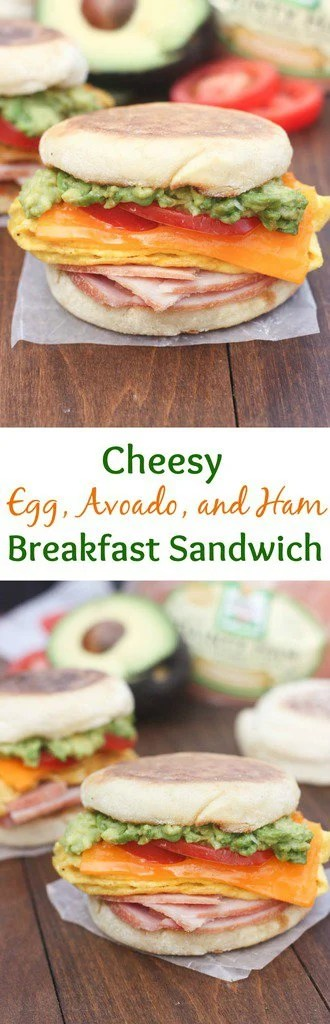 Cheesy Egg, Avocado and Ham Breakfast Sandwiches are perfect for using your leftover ham! They also make the best, easy freezer meal.