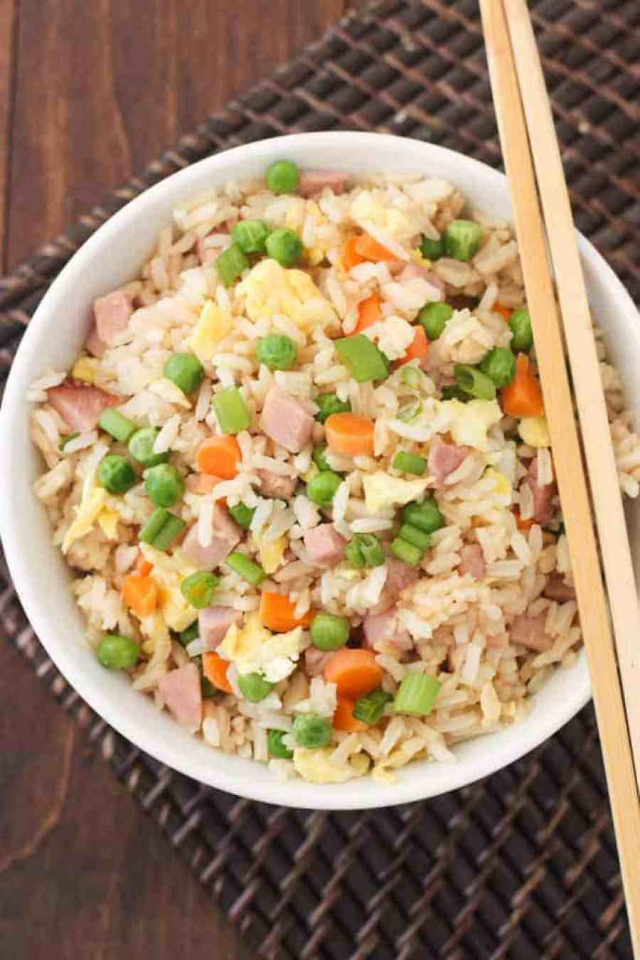 Better than take-out Ham Fried Rice recipe that takes less than 20 minutes to make! | Tastes Better From Scratch