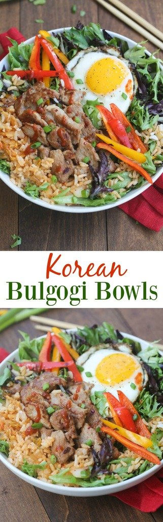 Korean Bulgogi Bowls are packed with flavor and absolutely delicious! Simple marinated pork served over kimchi fried rice with leafy greens and a fried egg on top. This dish is better than take-out, and easy to make from home!   Tastes Better From Scratch