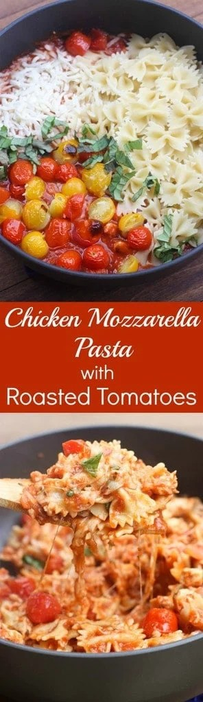 Warm and cheesy Chicken Mozzarella Pasta with Roasted Tomatoes is an easy, family-friendly pasta that takes less than 30 minutes to make!   Tastes Better From Scratch