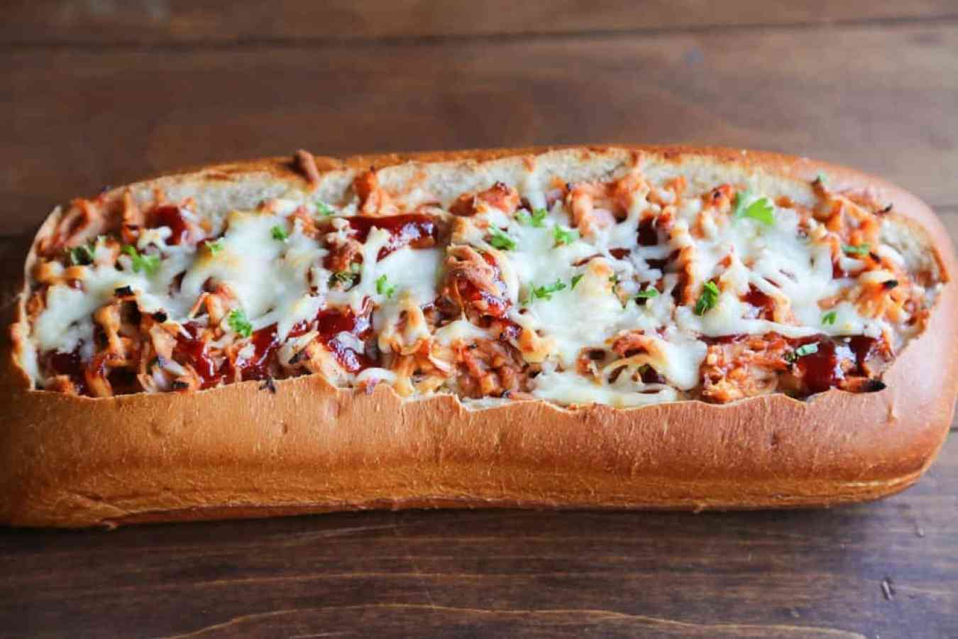 BBQ Chicken Stuffed Bread – Crusty artisan bread filled with cheesy bbq chicken filling. A fun twist to traditional BBQ chicken pizza–perfect for game day appetizers or an easy dinner idea. | Tastes Better From Scratch